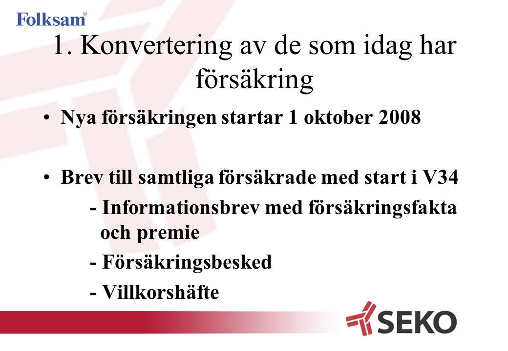 1. Konvertering av de som idag har försäkring •Nya försäkringen startar 1 oktober 2008 •Brev till samtliga försäkrade med start i V34 - Informationsbr