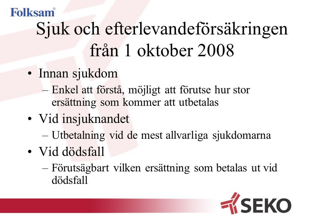 Sjuk och efterlevandeförsäkringen från 1 oktober 2008 •Innan sjukdom –Enkel att förstå, möjligt att förutse hur stor ersättning som kommer att utbetal