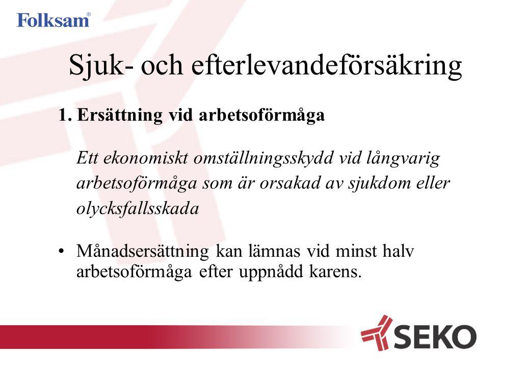 Sjuk- och efterlevandeförsäkring Ersättning vid arbetsoförmåga  Ett försäkringsbelopp.