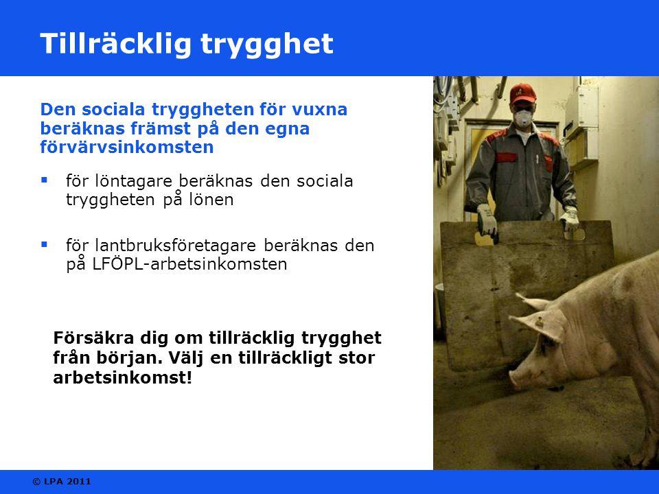 © LPA 2011 Tillräcklig trygghet Den sociala tryggheten för vuxna beräknas främst på den egna förvärvsinkomsten  för löntagare beräknas den sociala tryggheten på lönen  för lantbruksföretagare beräknas den på LFÖPL-arbetsinkomsten Försäkra dig om tillräcklig trygghet från början.