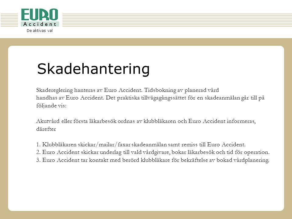 De aktivas val Skadehantering Skadereglering hanteras av Euro Accident. Tidsbokning av planerad vård handhas av Euro Accident. Det praktiska tillvägag