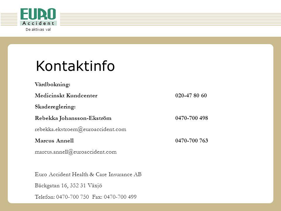 De aktivas val Kontaktinfo Vårdbokning: Medicinskt Kundcenter020-47 80 60 Skadereglering: Rebekka Johansson-Ekström 0470-700 498 rebekka.ekstroem@euro