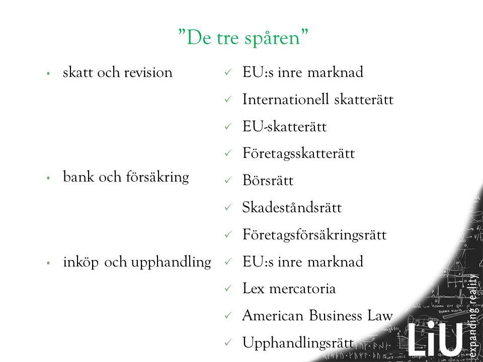 De tre spåren • skatt och revision • bank och försäkring • inköp och upphandling  EU:s inre marknad  Internationell skatterätt  EU-skatterätt  Företagsskatterätt  Börsrätt  Skadeståndsrätt  Företagsförsäkringsrätt  EU:s inre marknad  Lex mercatoria  American Business Law  Upphandlingsrätt