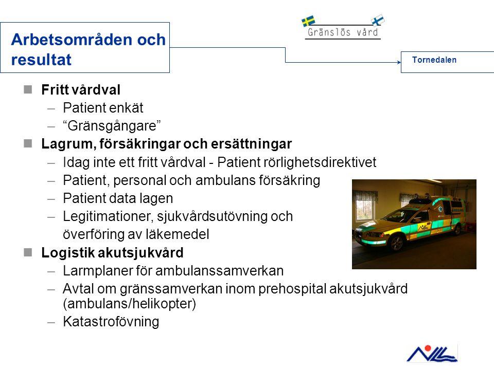 """Arbetsområden och resultat  Fritt vårdval –Patient enkät –""""Gränsgångare""""  Lagrum, försäkringar och ersättningar –Idag inte ett fritt vårdval - Patie"""