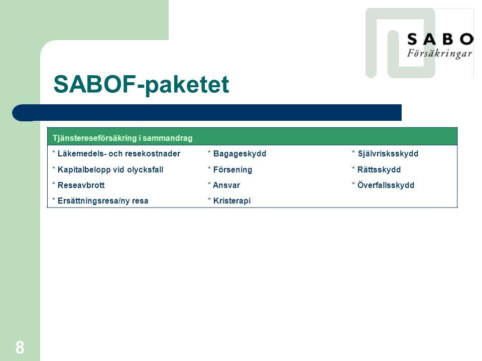 9 SABOF-paketet  SABOF-service – Inom ramen för vår ersättning ger vi följande service; * Generellt alla frågor som rör försäkringsavtalet * Upprätthåller ert fastighetsbeståndsregister * Sköter rapportering till Trygg-Hansa * Skadefrågor, regresser * Hjälper till med utvecklingen av specifika behov ex.