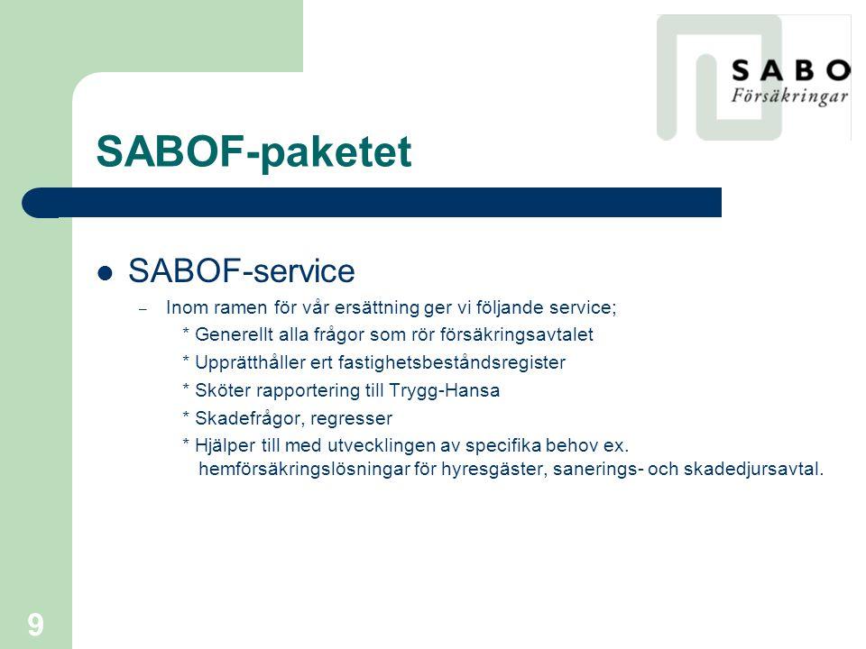 10 SABOF-paketet  Guide till SABOF:s hemsida – Hemsidan innehåller aktuell information gällande försäkringsfrågor för SABOF- företagen – Information för vad som gäller vid skador – Företagsspecifik information som försäkringsbevis, fakturor, försäkringsbrev, fastighetsbestånd m.m.