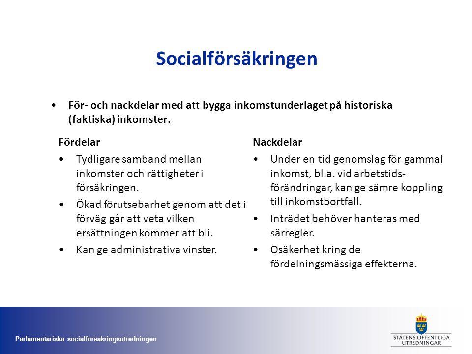 Parlamentariska socialförsäkringsutredningen Socialförsäkringen •För- och nackdelar med att bygga inkomstunderlaget på historiska (faktiska) inkomster