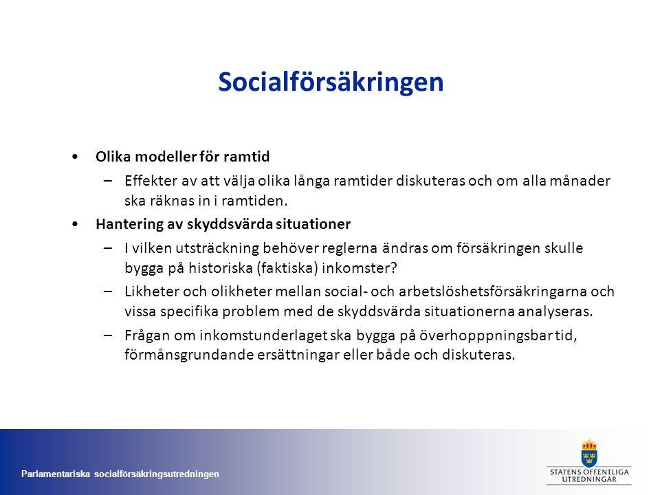 Parlamentariska socialförsäkringsutredningen Socialförsäkringen •Olika modeller för ramtid –Effekter av att välja olika långa ramtider diskuteras och
