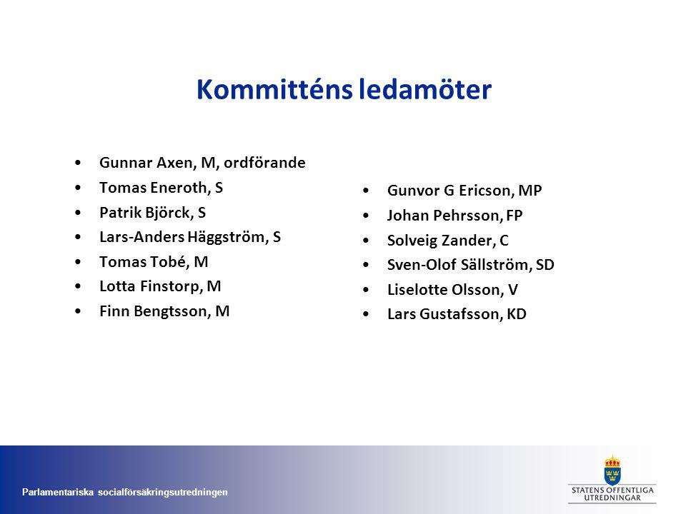 Parlamentariska socialförsäkringsutredningen Kommitténs ledamöter •Gunnar Axen, M, ordförande •Tomas Eneroth, S •Patrik Björck, S •Lars-Anders Häggstr