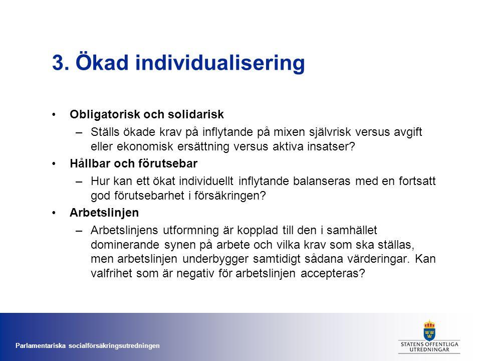 Parlamentariska socialförsäkringsutredningen 3. Ökad individualisering •Obligatorisk och solidarisk –Ställs ökade krav på inflytande på mixen självris