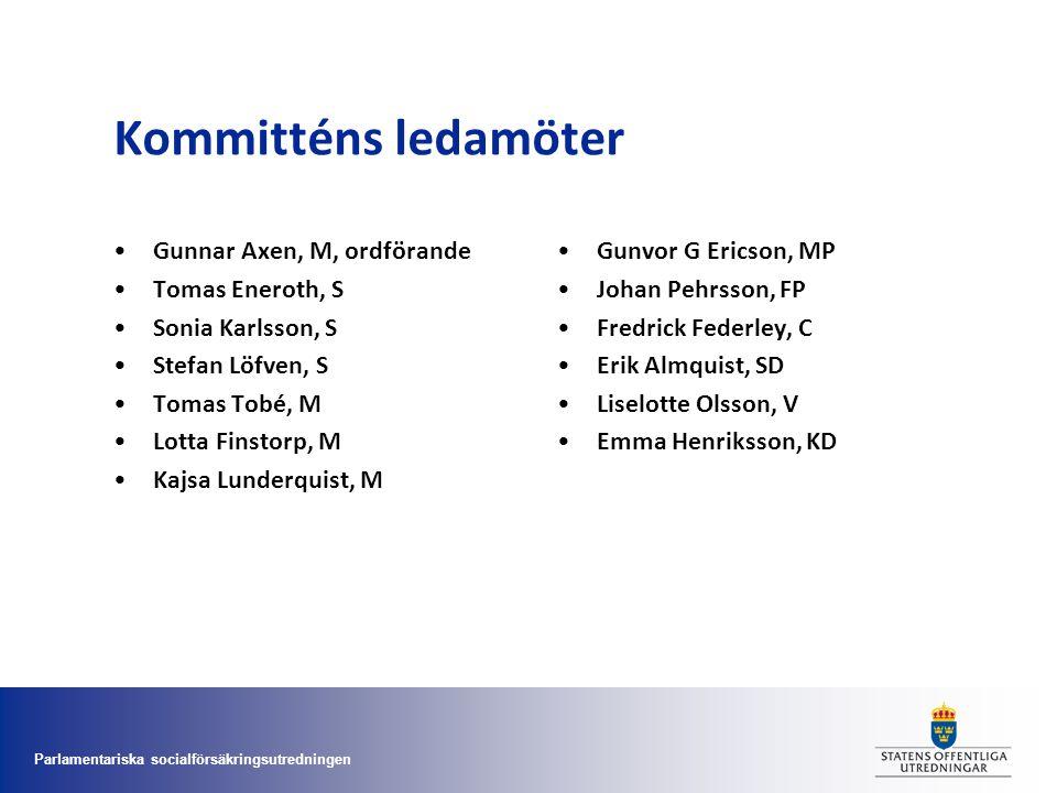 Parlamentariska socialförsäkringsutredningen Kommitténs ledamöter •Gunnar Axen, M, ordförande •Tomas Eneroth, S •Sonia Karlsson, S •Stefan Löfven, S •