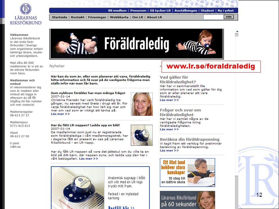 Hans Eric Lindahl 2008-04-2212 www.lr.se/foraldraledig