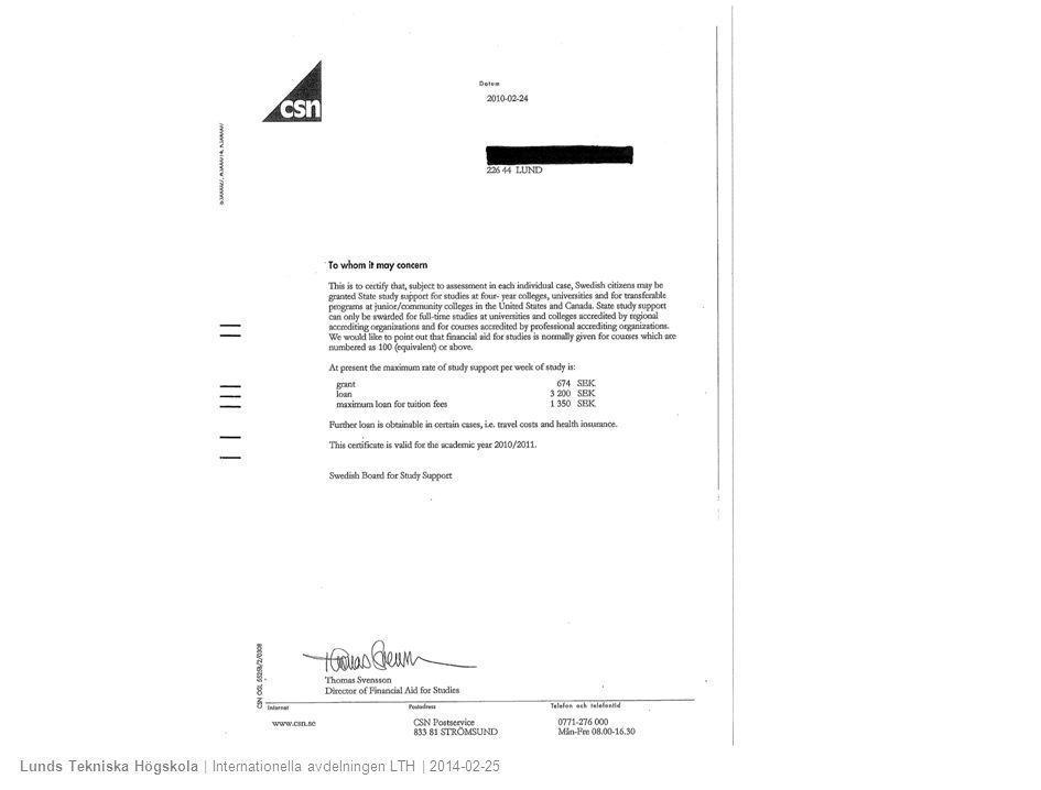 Lunds Tekniska Högskola | Internationella avdelningen LTH | 2014-02-25