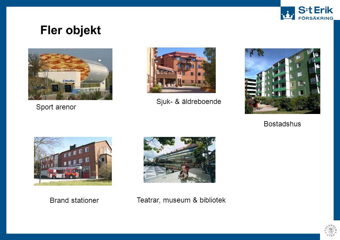 Fler objekt Brand stationer Sjuk- & äldreboende Sport arenor Bostadshus Teatrar, museum & bibliotek