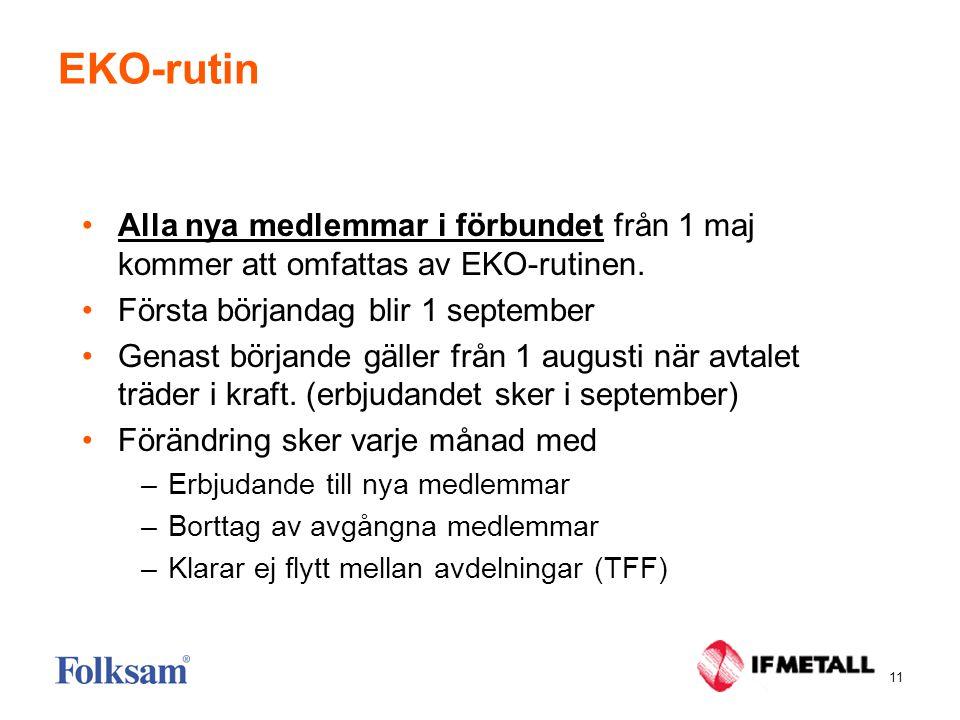 11 EKO-rutin •Alla nya medlemmar i förbundet från 1 maj kommer att omfattas av EKO-rutinen.