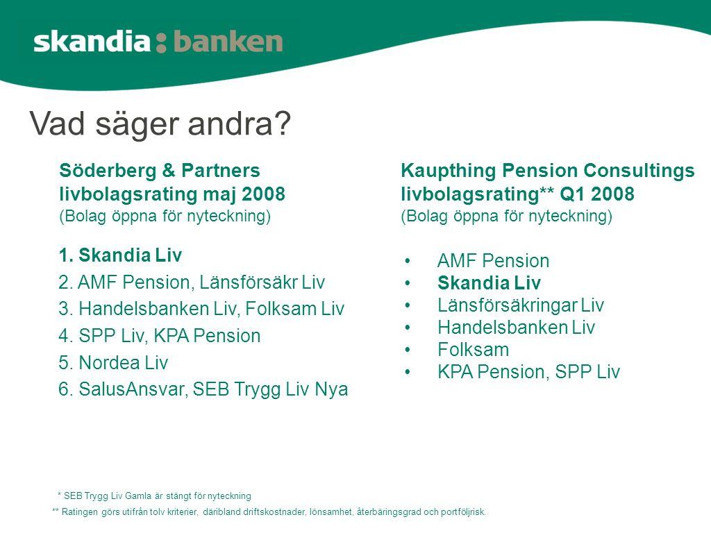 Vad säger andra. 1. Skandia Liv 2. AMF Pension, Länsförsäkr Liv 3.