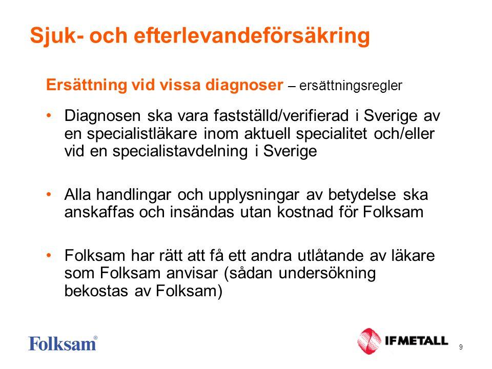 10 Sjuk- och efterlevandeförsäkring Ersättning vid vissa diagnoser  Cancer (malign primär tumör, exklusive vissa hudtumörer - t ex basalcellscancer)  Vissa godartade tumörer i hjärna och ryggmärg (benign tumör)  Insulinkrävande diabetes typ 1 (som inte föregåtts av typ 2- diabetes)  Atrofier i centrala nervsystemet (t ex ALS)  Parkinsons sjukdom  Myelinförstörande sjukdom i centrala nervsystemet (t ex MS)  Muskelsjukdomar (neurologiska sjukdomar, t ex muskeldystrofi)