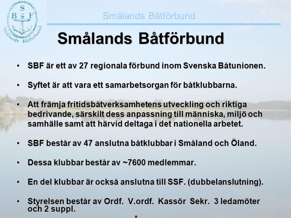 Smålands Båtförbund •SBF är ett av 27 regionala förbund inom Svenska Båtunionen. •Syftet är att vara ett samarbetsorgan för båtklubbarna. •Att främja