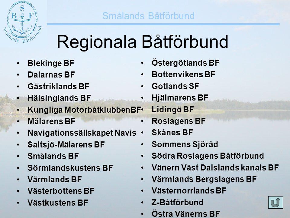 Smålands Båtförbund Regionala Båtförbund •Blekinge BF •Dalarnas BF •Gästriklands BF •Hälsinglands BF •Kungliga MotorbåtklubbenBF •Mälarens BF •Navigat