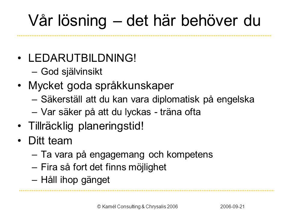 © Kamél Consulting & Chrysalis 20062006-09-21 Vår lösning – det här behöver du •LEDARUTBILDNING! –God självinsikt •Mycket goda språkkunskaper –Säkerst