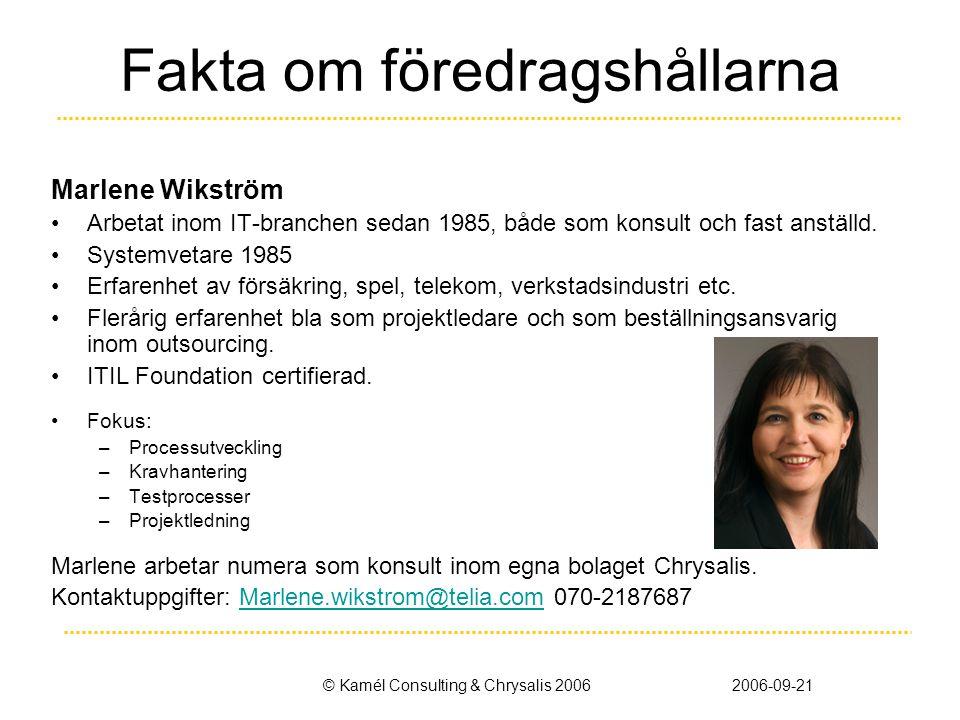 © Kamél Consulting & Chrysalis 20062006-09-21 Fakta om föredragshållarna Marlene Wikström •Arbetat inom IT-branchen sedan 1985, både som konsult och fast anställd.