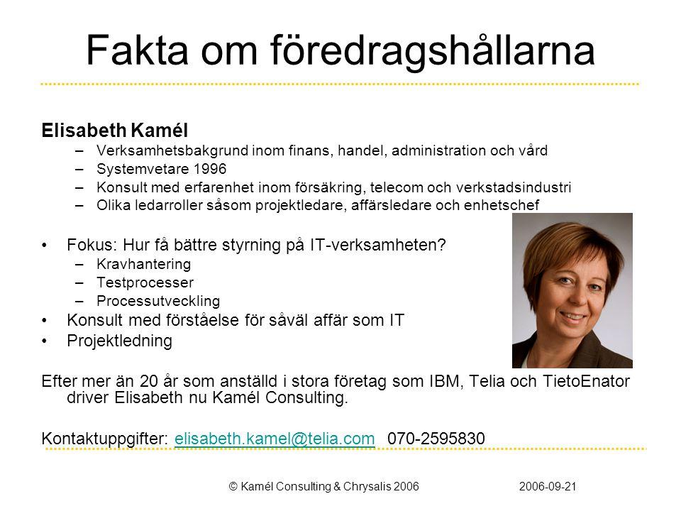 © Kamél Consulting & Chrysalis 20062006-09-21 Fakta om föredragshållarna Elisabeth Kamél –Verksamhetsbakgrund inom finans, handel, administration och
