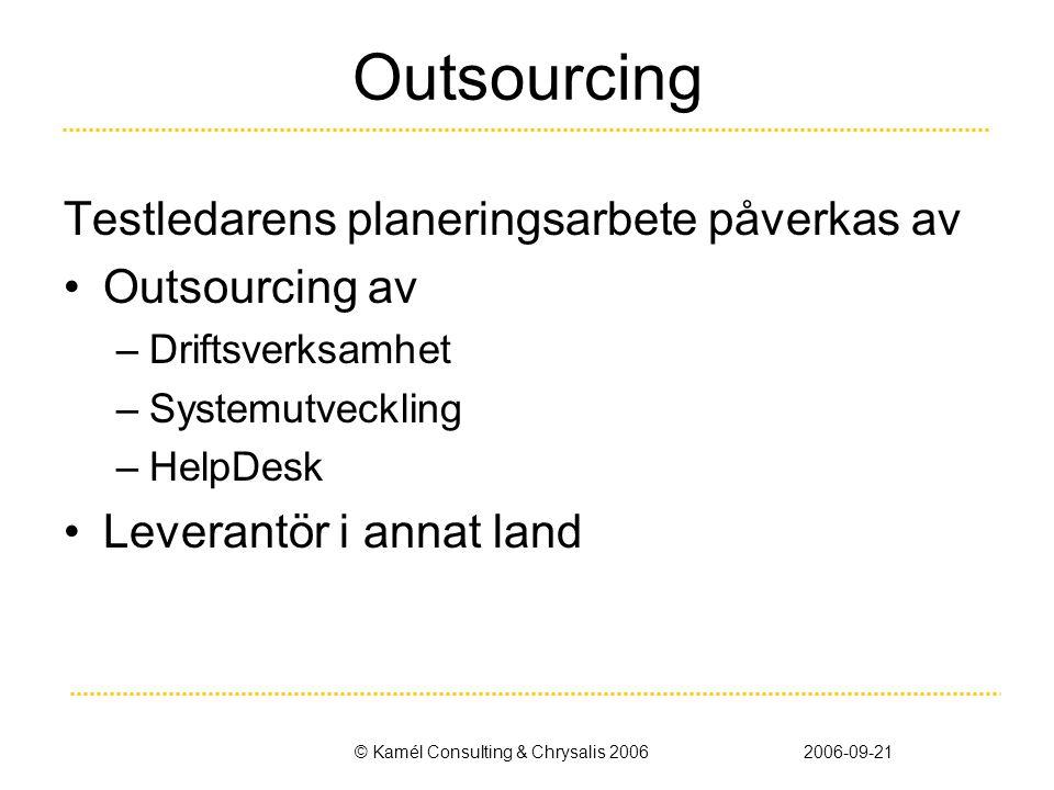 © Kamél Consulting & Chrysalis 20062006-09-21 Outsourcing Testledarens planeringsarbete påverkas av •Outsourcing av –Driftsverksamhet –Systemutveckling –HelpDesk •Leverantör i annat land