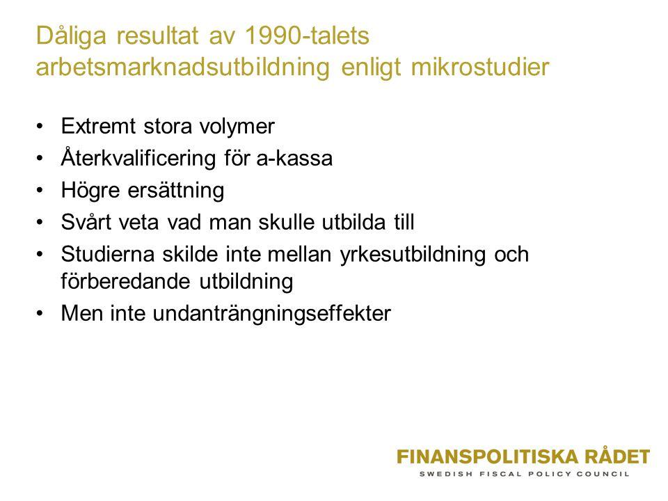 Dåliga resultat av 1990-talets arbetsmarknadsutbildning enligt mikrostudier •Extremt stora volymer •Återkvalificering för a-kassa •Högre ersättning •S
