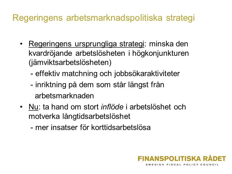 Regeringens arbetsmarknadspolitiska strategi •Regeringens ursprungliga strategi: minska den kvardröjande arbetslösheten i högkonjunkturen (jämviktsarb