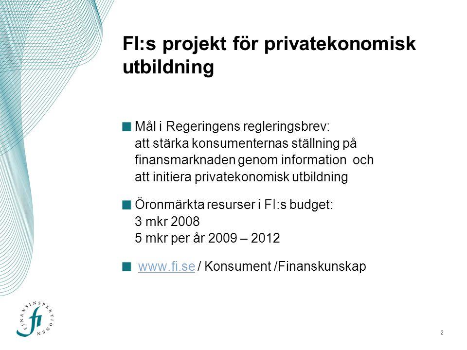 2 FI:s projekt för privatekonomisk utbildning Mål i Regeringens regleringsbrev: att stärka konsumenternas ställning på finansmarknaden genom information och att initiera privatekonomisk utbildning Öronmärkta resurser i FI:s budget: 3 mkr 2008 5 mkr per år 2009 – 2012 www.fi.se / Konsument /Finanskunskapwww.fi.se