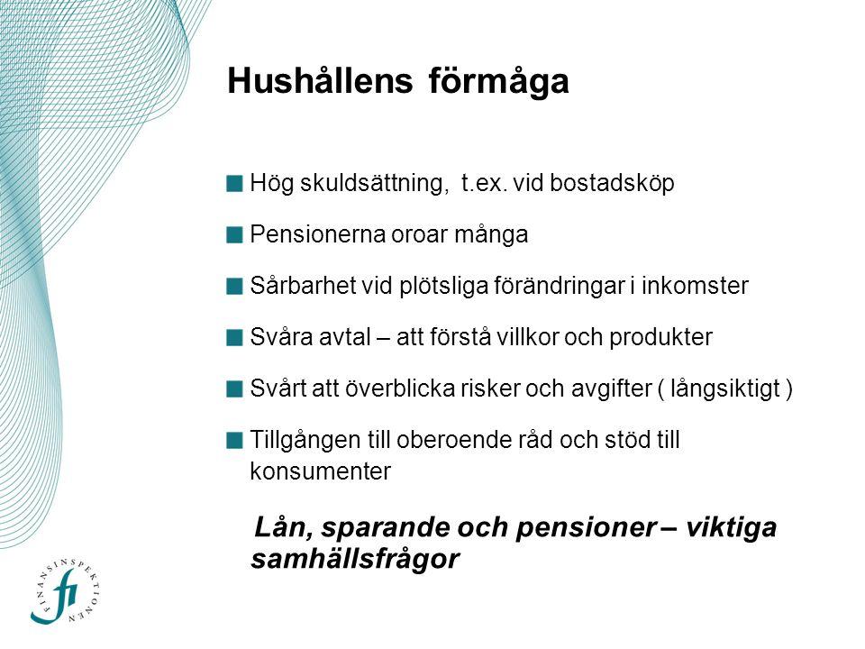 Hushållens förmåga Hög skuldsättning, t.ex.