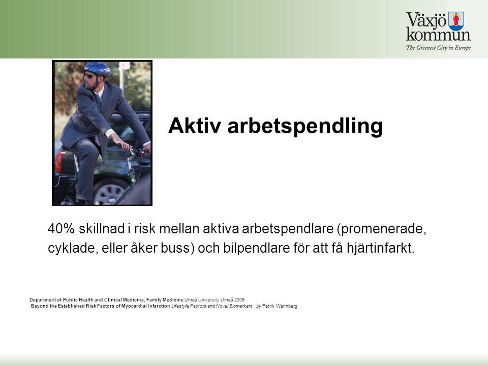 Aktiv arbetspendling 40% skillnad i risk mellan aktiva arbetspendlare (promenerade, cyklade, eller åker buss) och bilpendlare för att få hjärtinfarkt.