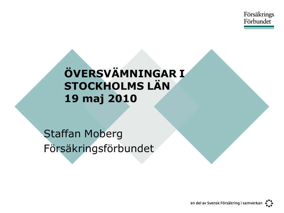 ÖVERSVÄMNINGAR I STOCKHOLMS LÄN 19 maj 2010 Staffan Moberg Försäkringsförbundet