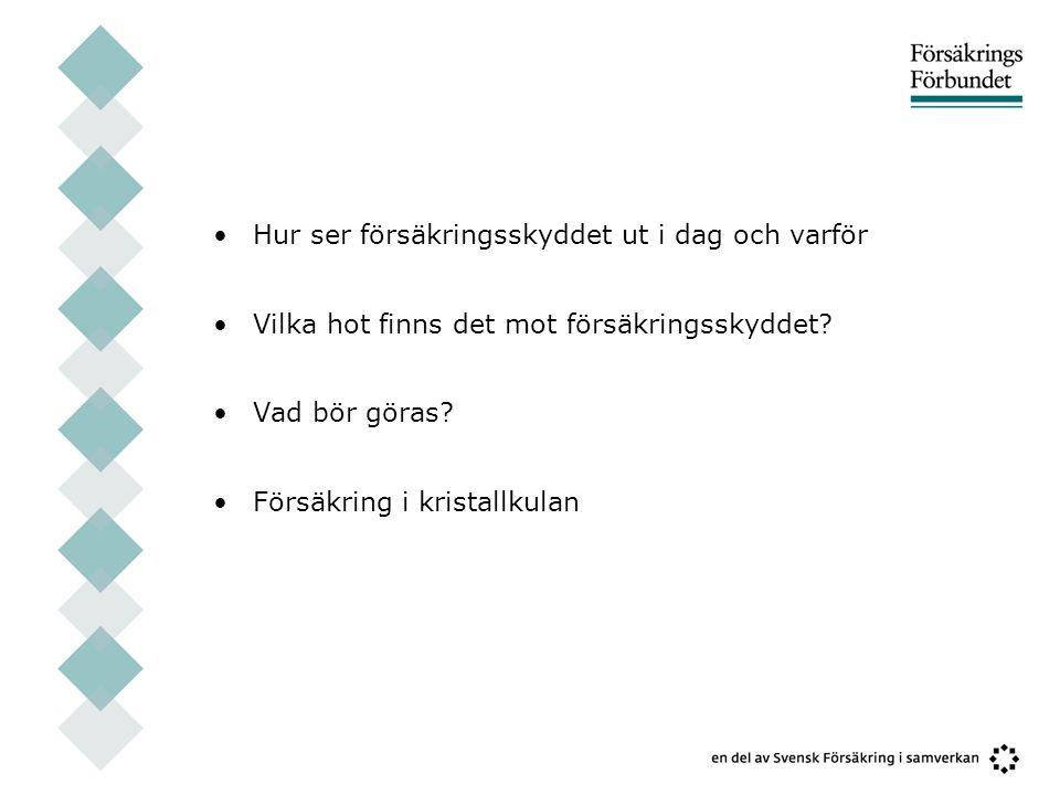 Dagens försäkringar •Hem/villa/fritidshus •Småföretag •Storföretag