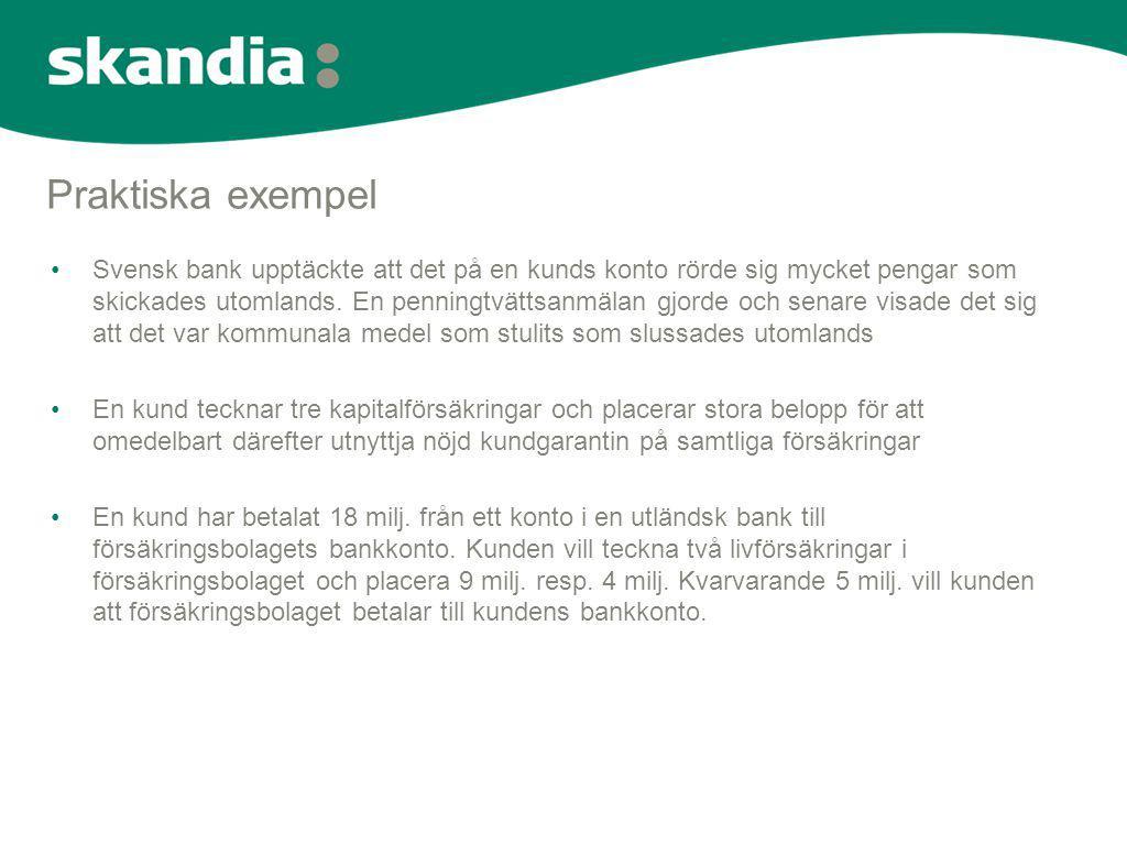 Praktiska exempel •Svensk bank upptäckte att det på en kunds konto rörde sig mycket pengar som skickades utomlands. En penningtvättsanmälan gjorde och