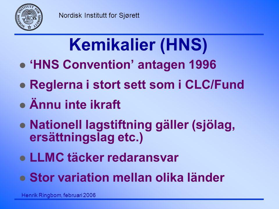 Nordisk Institutt for Sjørett Henrik Ringbom, februari 2006 Kemikalier (HNS) l 'HNS Convention' antagen 1996 l Reglerna i stort sett som i CLC/Fund l Ännu inte ikraft l Nationell lagstiftning gäller (sjölag, ersättningslag etc.) l LLMC täcker redaransvar l Stor variation mellan olika länder