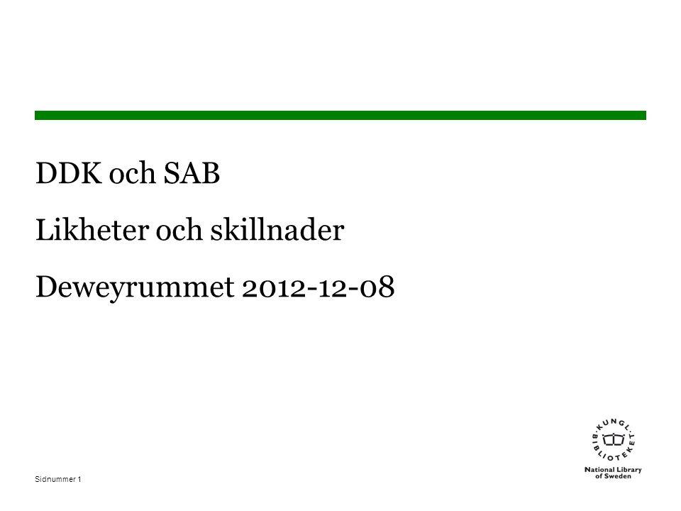 Sidnummer1 DDK och SAB Likheter och skillnader Deweyrummet 2012-12-08