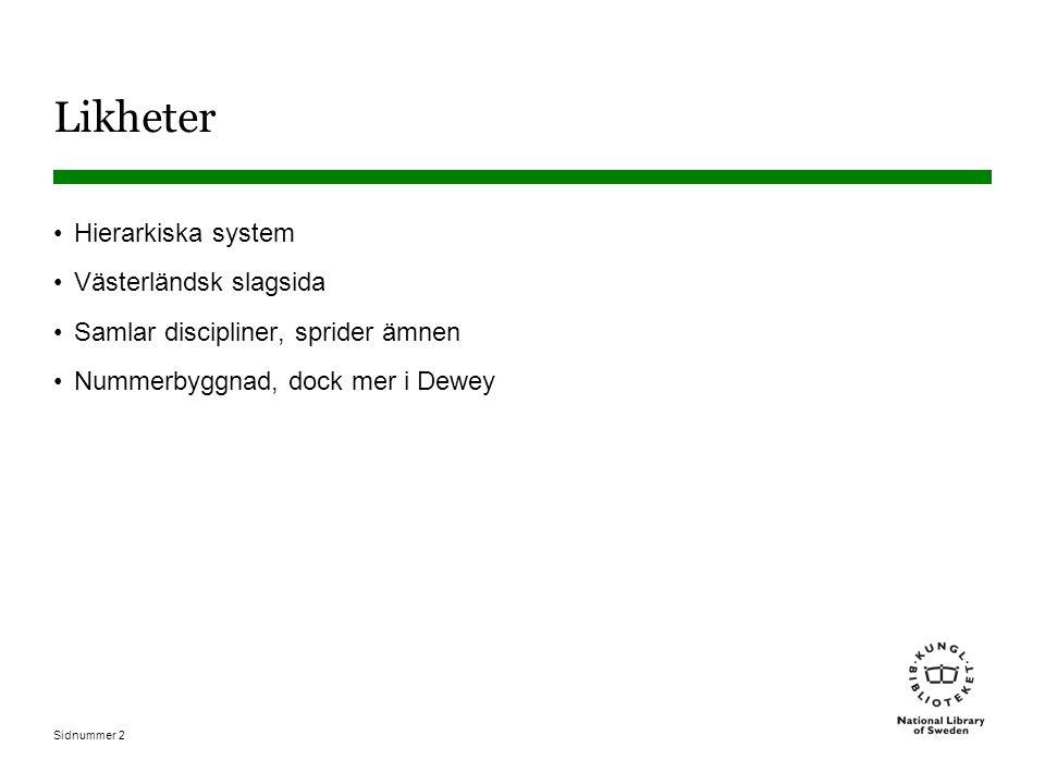 Sidnummer 2 Likheter •Hierarkiska system •Västerländsk slagsida •Samlar discipliner, sprider ämnen •Nummerbyggnad, dock mer i Dewey