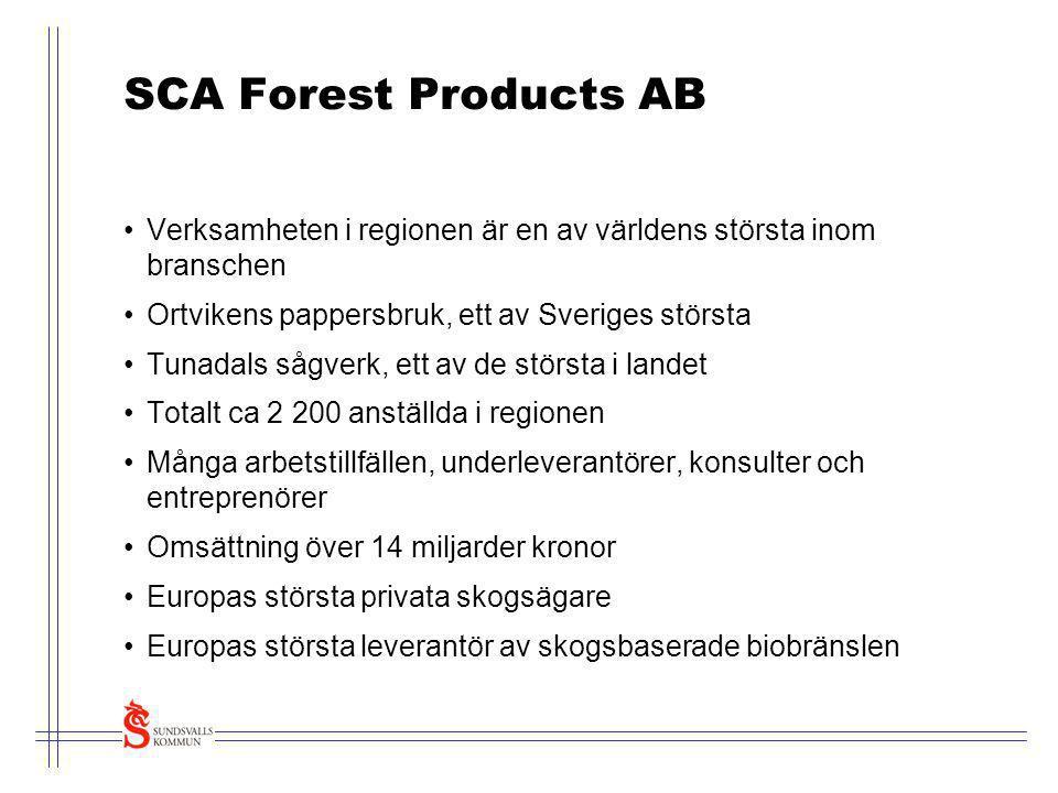 SCA Forest Products AB •Verksamheten i regionen är en av världens största inom branschen •Ortvikens pappersbruk, ett av Sveriges största •Tunadals såg