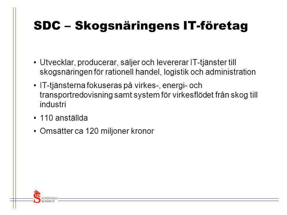 SDC – Skogsnäringens IT-företag •Utvecklar, producerar, säljer och levererar IT-tjänster till skogsnäringen för rationell handel, logistik och adminis