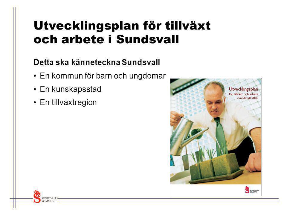 Utvecklingsplan för tillväxt och arbete i Sundsvall Detta ska känneteckna Sundsvall •En kommun för barn och ungdomar •En kunskapsstad •En tillväxtregi