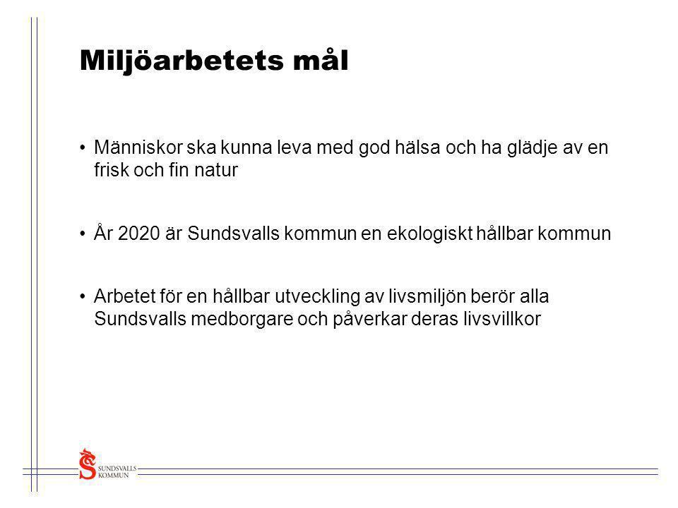 Miljöarbetets mål •Människor ska kunna leva med god hälsa och ha glädje av en frisk och fin natur •År 2020 är Sundsvalls kommun en ekologiskt hållbar