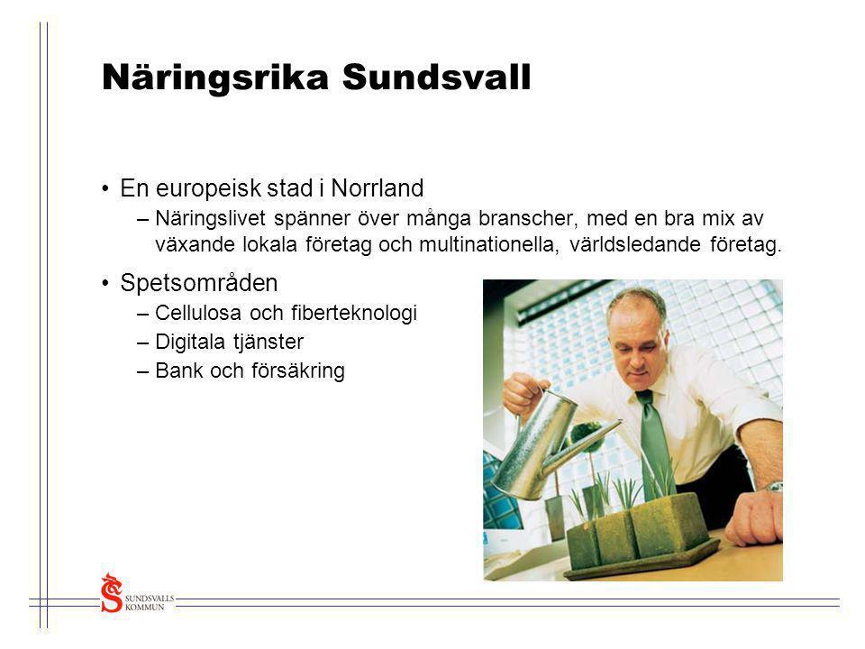 Näringsrika Sundsvall •En europeisk stad i Norrland –Näringslivet spänner över många branscher, med en bra mix av växande lokala företag och multinati