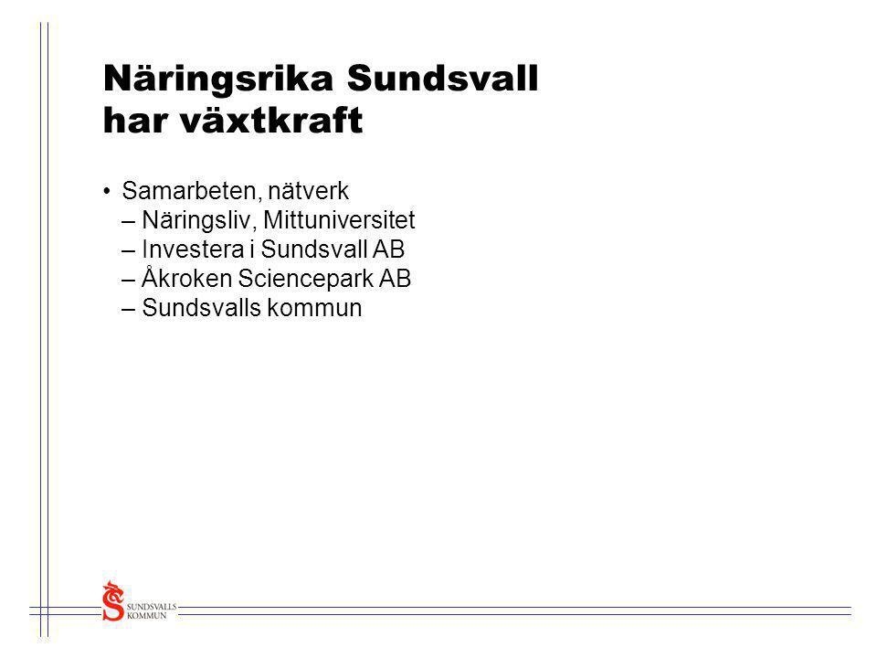Näringsrika Sundsvall har växtkraft •Samarbeten, nätverk – Näringsliv, Mittuniversitet – Investera i Sundsvall AB – Åkroken Sciencepark AB – Sundsvall