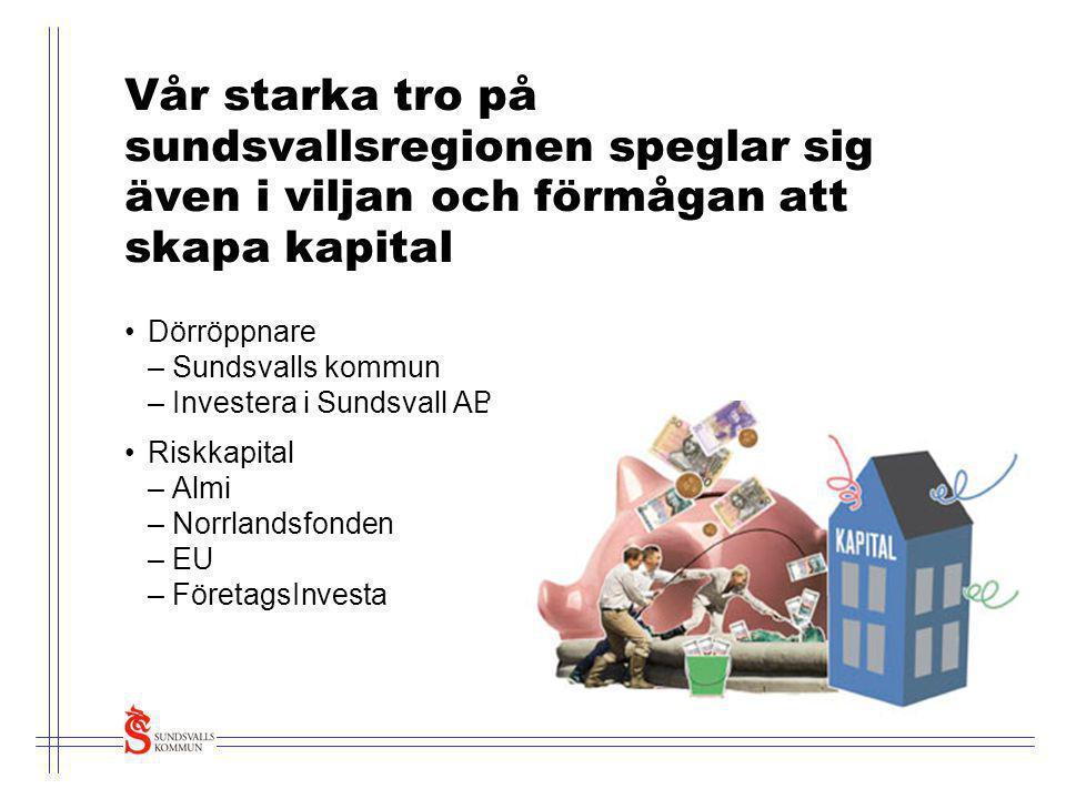 Sundsvalls spetsområde Cellulosa/Fiberteknologi •Skogen har alltid varit en stark inkomstkälla för Sundsvall och riket •Industrierna utvecklar kompetens kring cellulosa och fiberteknologi •Sysselsätter ca 5 000 personer •FSCN - världsledande forskningscentra Skogen, det eviga norrländska guldet