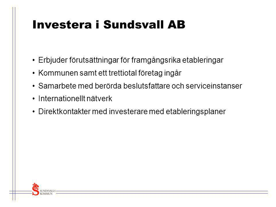 Investera i Sundsvall AB •Erbjuder förutsättningar för framgångsrika etableringar •Kommunen samt ett trettiotal företag ingår •Samarbete med berörda b