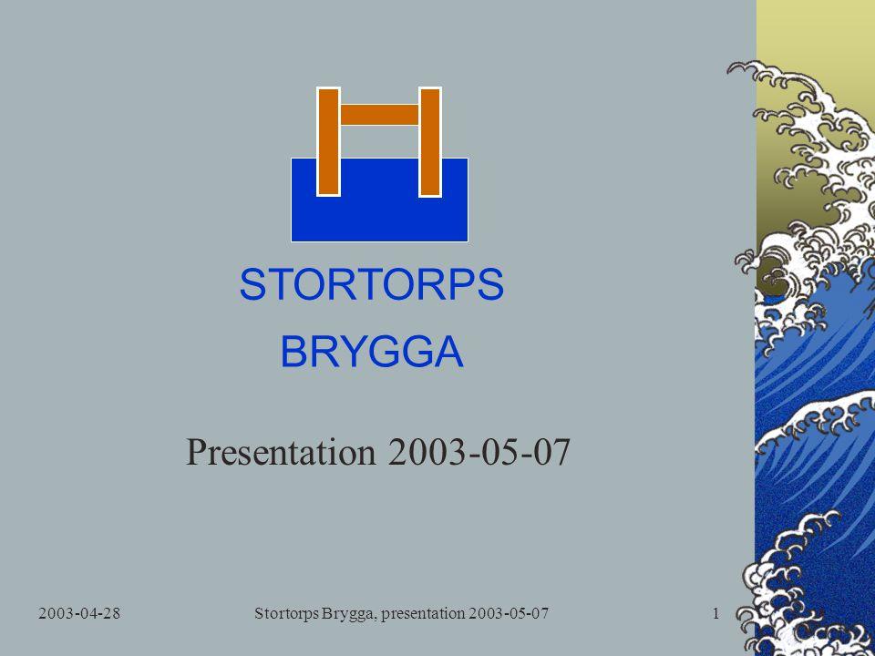 2003-04-28Stortorps Brygga, presentation 2003-05-071 Presentation 2003-05-07 STORTORPS BRYGGA
