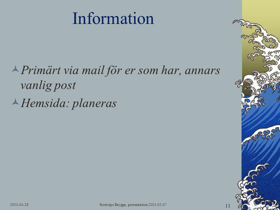 2003-04-28Stortorps Brygga, presentation 2003-05-07 11 Information  Primärt via mail för er som har, annars vanlig post  Hemsida: planeras