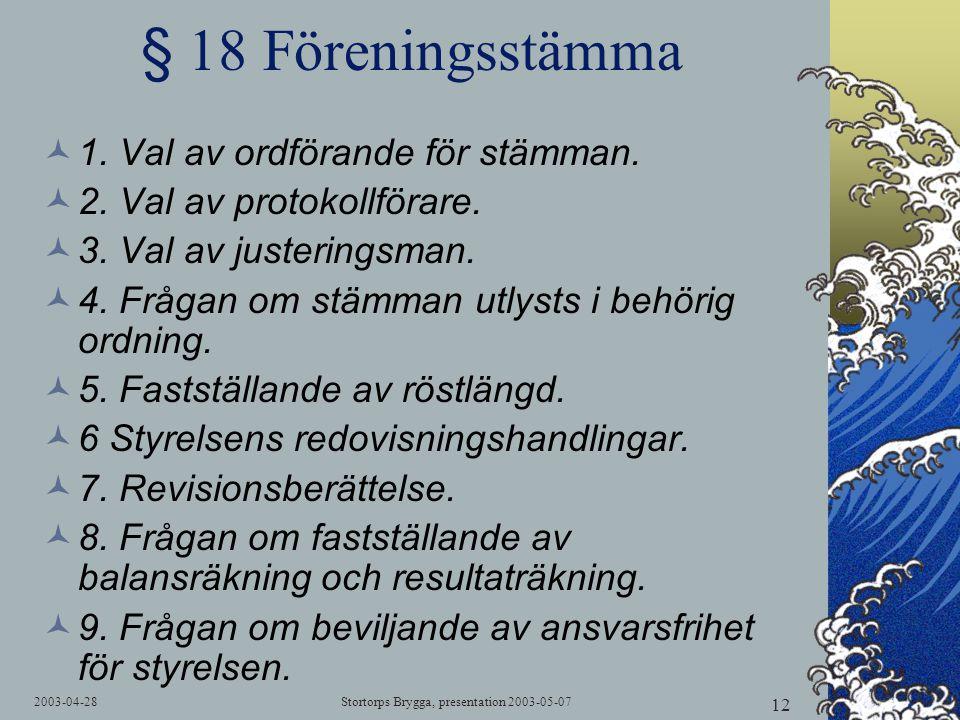 2003-04-28Stortorps Brygga, presentation 2003-05-07 12 § 18 Föreningsstämma  1. Val av ordförande för stämman.  2. Val av protokollförare.  3. Val