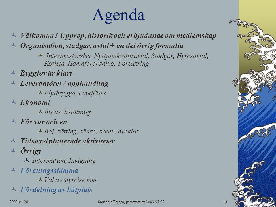 2003-04-28Stortorps Brygga, presentation 2003-05-07 2 Agenda  Välkomna ! Upprop, historik och erbjudande om medlemskap  Organisation, stadgar, avtal